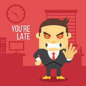 Angry boss. Creative vector illustration. — Stock Vector