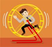 Businessman runs. Vector flat illustration — Stock Vector