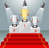 Gold cup. Illuminated winner pedestal with red carpet. Vector illustration — Stockvektor