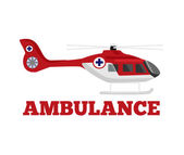 Vector ambulance helicopter flat illustration — Stock Vector