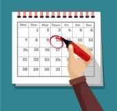 Vector flat calendar illustration — Stock Vector