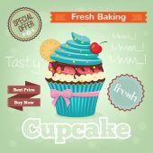Vector cupcake vecor flat banner — Stok Vektör