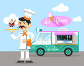 Vector flat ice cream illustration — Stockvector