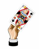 Vector hand with Queen game card — Stock Vector