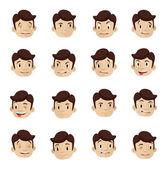 эмоциональное головки плоского иконы set — Cтоковый вектор