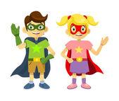 Children superheroes. Vector flat illustration — Stock Vector