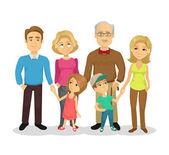 Vector full family flat cartoon illustration — Stock Vector