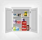 Cupboard with medicines. Vector flat illustration — Stock Vector