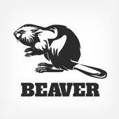 Beaver. Vector black illustration — Stock Vector