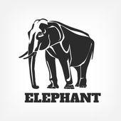 Éléphant vector illustration noire — Vecteur