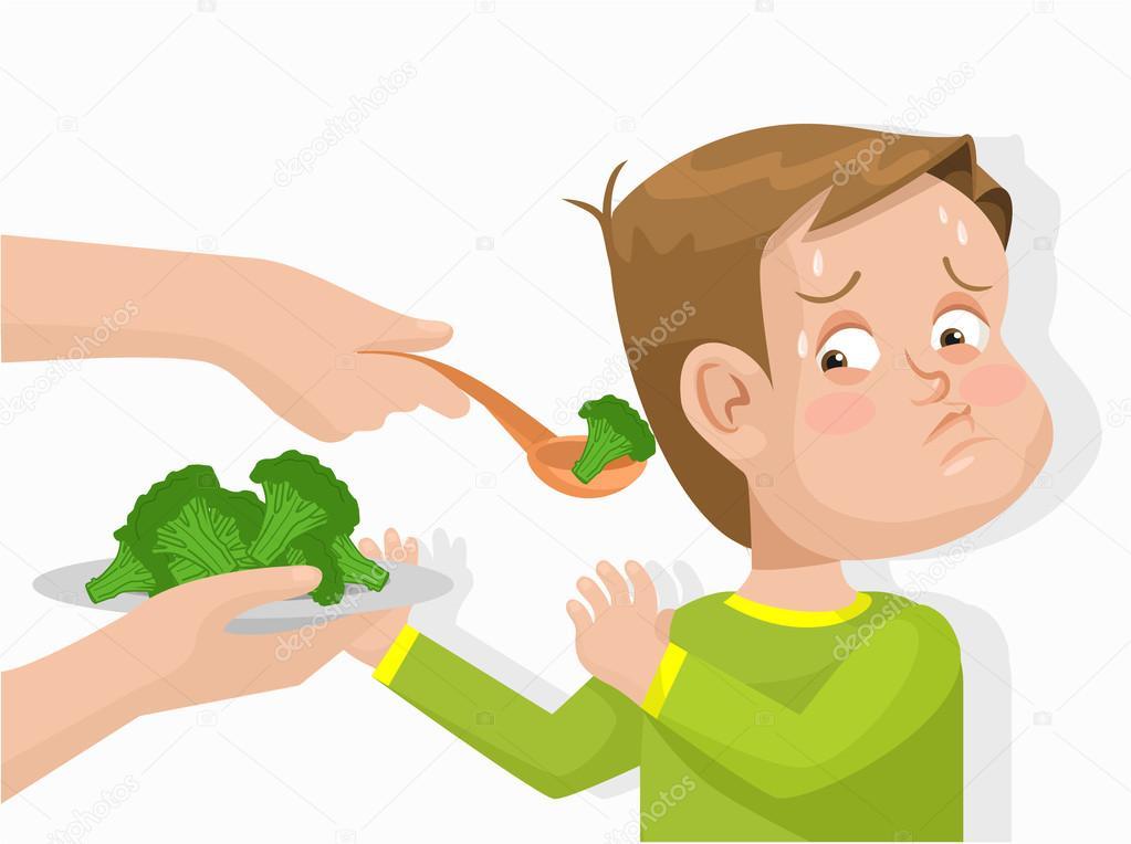 Niño No Quiere Comer Brócoli. Ilustración Plano
