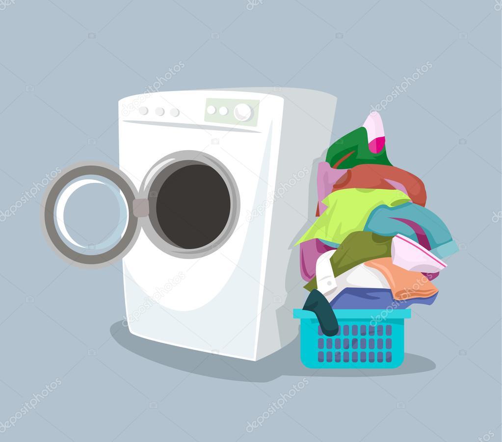 Vector machine laver illustration de dessin anim plat - Machine a laver petite taille ...