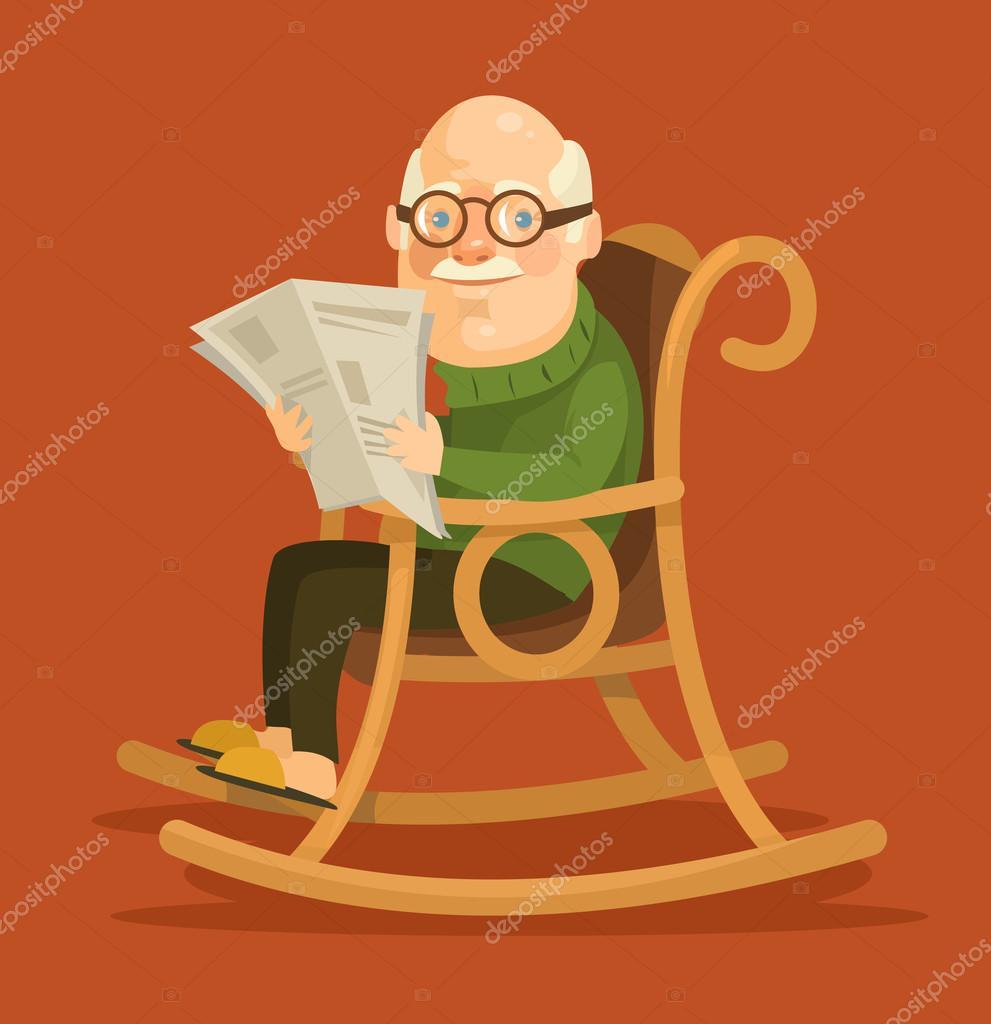 Alter mann im schaukelstuhl sitzen flache vektor for Alter mann im schaukelstuhl