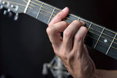 G major Chord Fingering On Guitar — Stock Photo