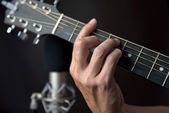 F Sharp Chord Fingering On Guitar — Stock Photo
