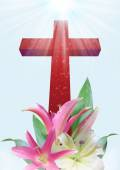 Christian cross and lily flower — Stockfoto