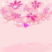 Pink floral background — Stock Vector