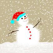 рождественские поздравительные карточки - снеговик — Cтоковый вектор
