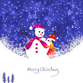 Snowman with girl — Stock Vector