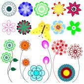 Sada květ — Stock vektor