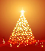 Christmas tree with musical notes — Stock Vector