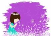 Beautiful little girl praying — Stockvector
