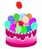 Birthday cake with baby — Stock Vector