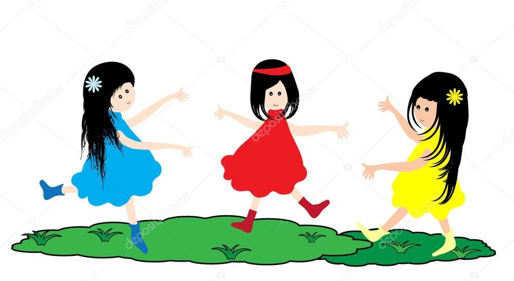 三个可爱的小女孩在一起跳舞