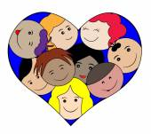 Children faces in a heart-love concept — Stock Vector