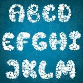 χριστούγεννα νιφάδες χιονιού αλφάβητο — Διανυσματικό Αρχείο