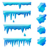 Blue icicles and frozen puddles — Stock Vector