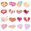 Happy valentines hearts set — Cтоковый вектор #57592149