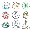 Doodle icons of yoga — Stock Vector #57737587