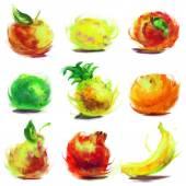 Set of drawing fruit — Stock Photo