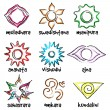 Set of chakras symbols — Stock Vector #61331349