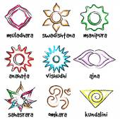 Set of chakras symbols — Stock Vector