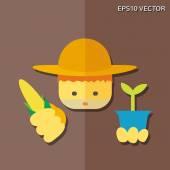 Farmer flat icon — Stock Vector