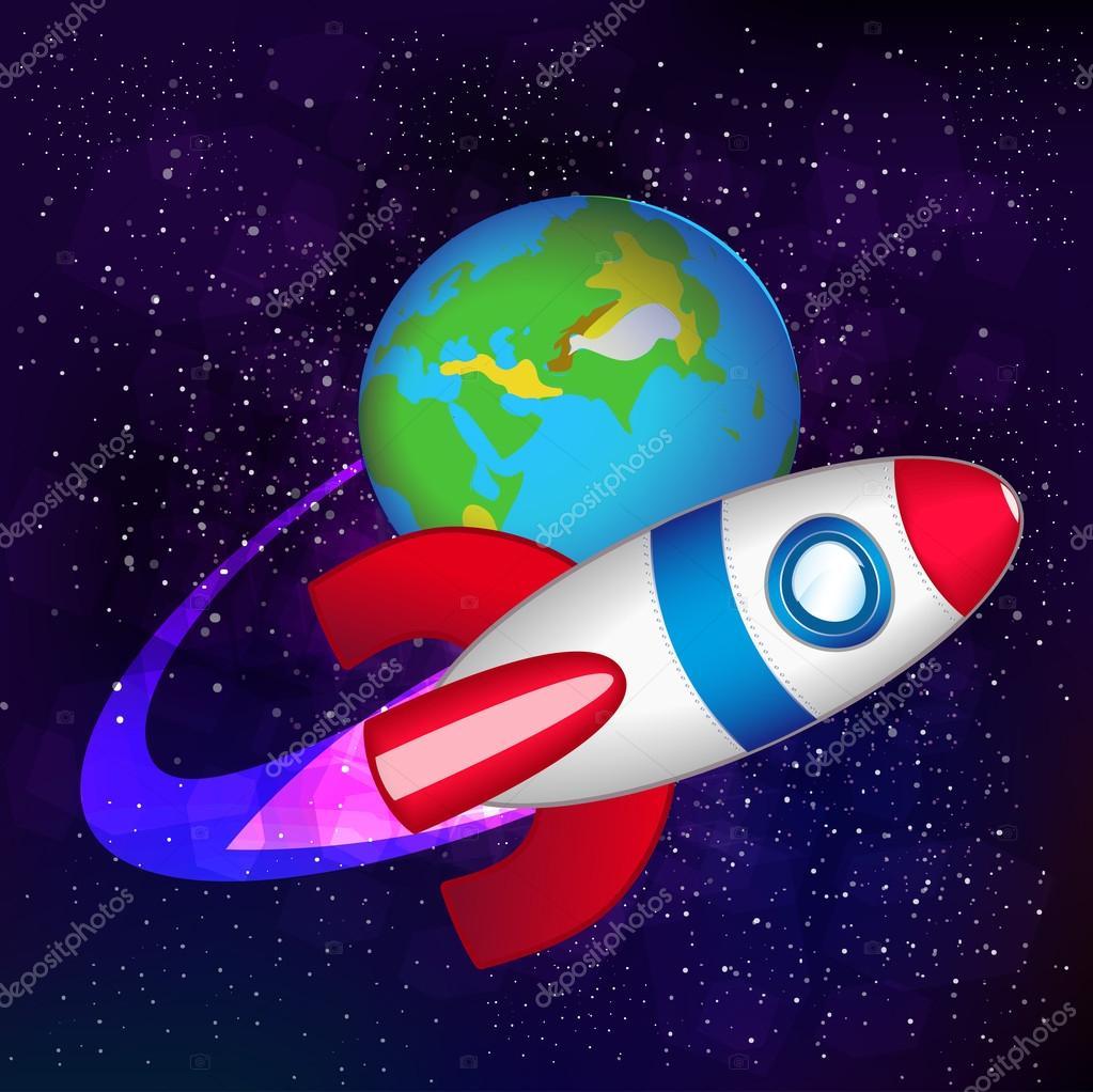 Navicella spaziale di vettore nello spazio — vettoriali