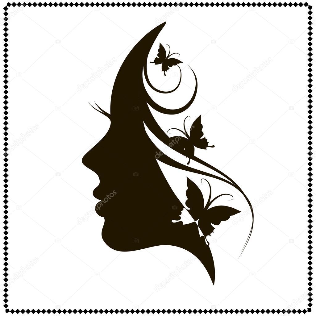 Wall Stencil Stickers Silhouette De Beau Visage De Femme De Profil Image