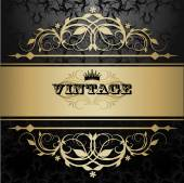 Vintage background with golden pattern — Stock Vector