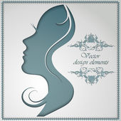 Female silhouette cut out of paper — Stock Vector