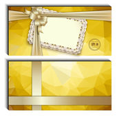 Gift card with lace, ribbons, silk bow — Stock Vector