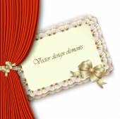 Elegant invitation with gold bow and red curtain — ストックベクタ