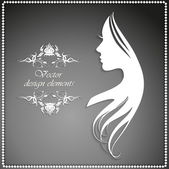 Silhouette of a girl with long hair and beautiful pattern — Stock Vector