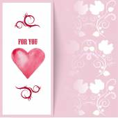 Flyer card with hearts and place for text — Stockvektor