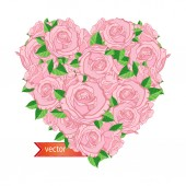 Heart of roses — Stock Vector