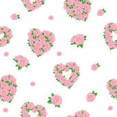 Seamless background with hearts and roses — Stock Vector
