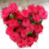 Polygonal heart of roses — Stock Vector