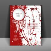Brochure or flyer with splashes of red paint — Vetor de Stock