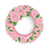 Wreath of roses banner — Stok Vektör